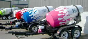 Cool paint on concrete mixers
