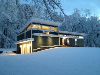 Snowy home exterior