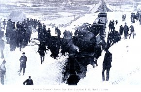 Train wreck at Coleman's Station during the Great Blizzard of 1888